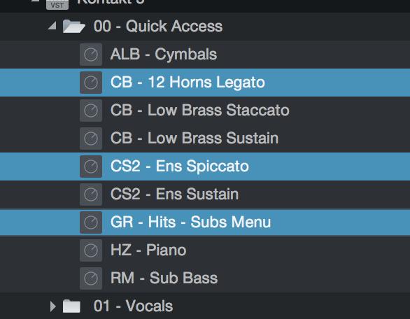 Studio One Preset Multi Selection